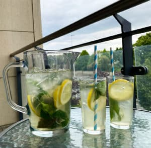 Lemon Basil Olive Iced Tea