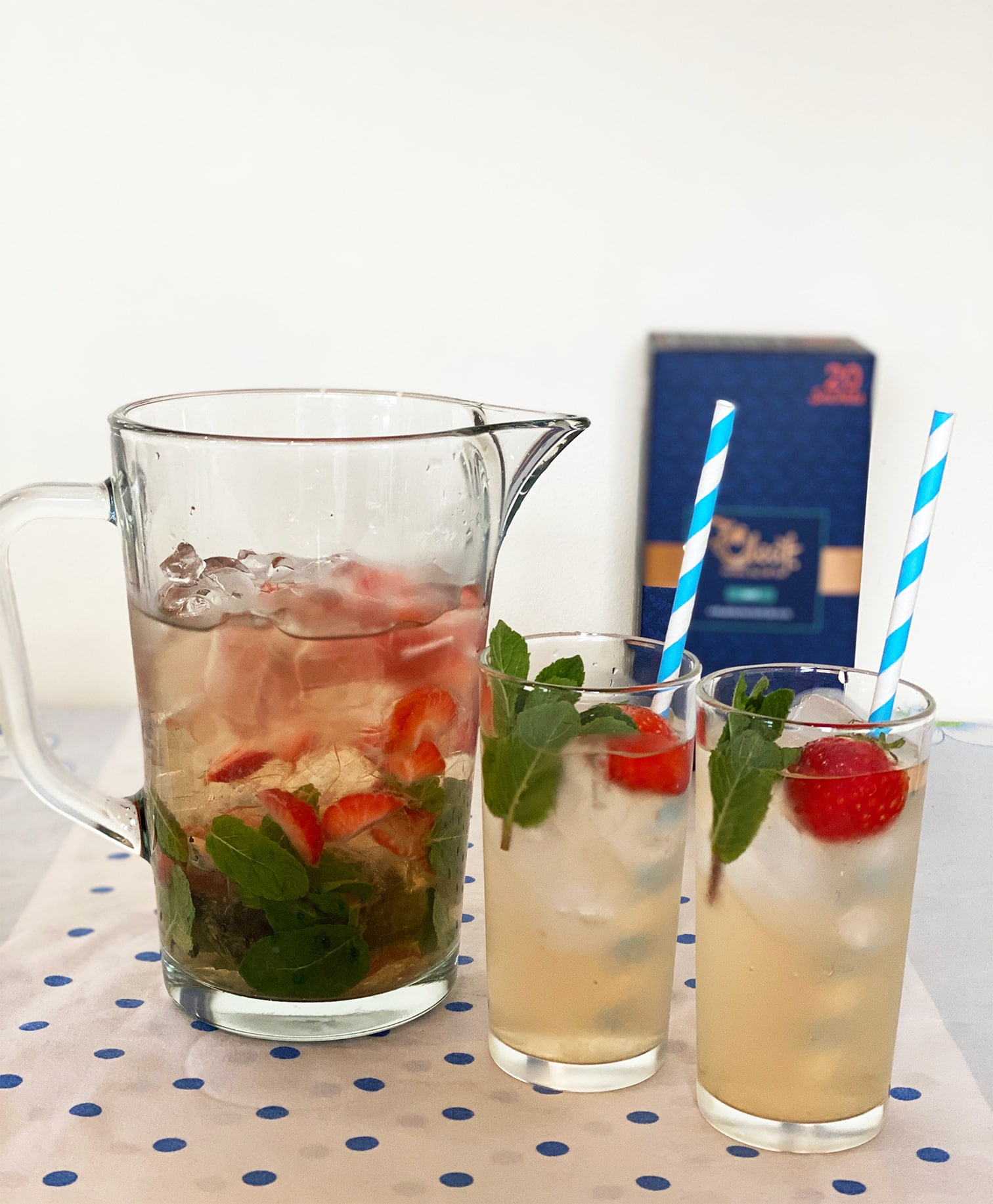 Strawberry and Mint Olive Iced Tea